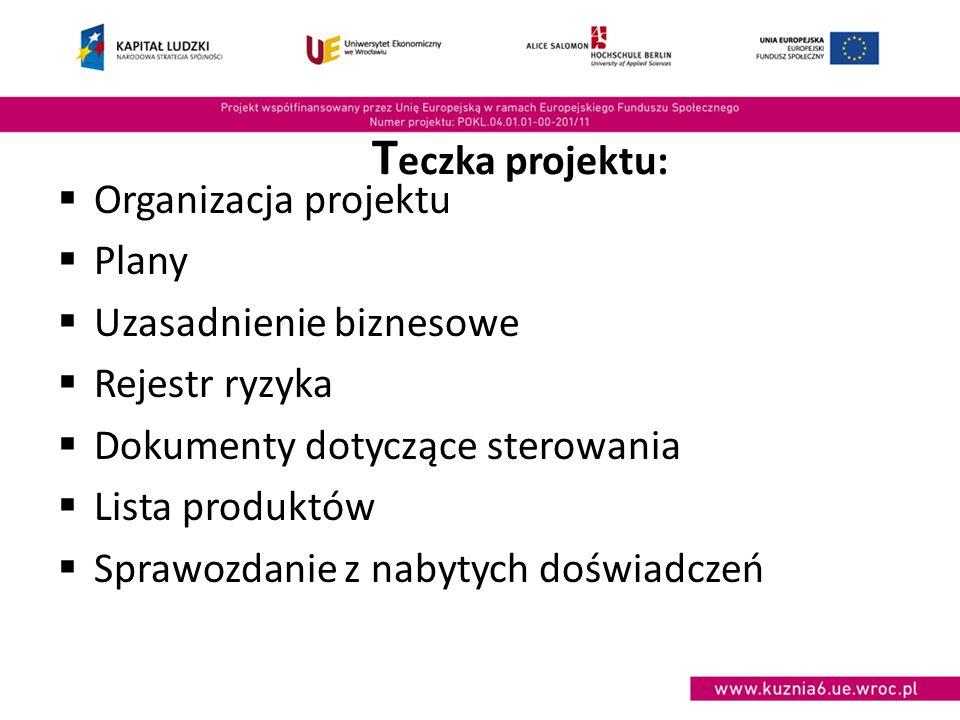 T eczka projektu:  Organizacja projektu  Plany  Uzasadnienie biznesowe  Rejestr ryzyka  Dokumenty dotyczące sterowania  Lista produktów  Sprawozdanie z nabytych doświadczeń