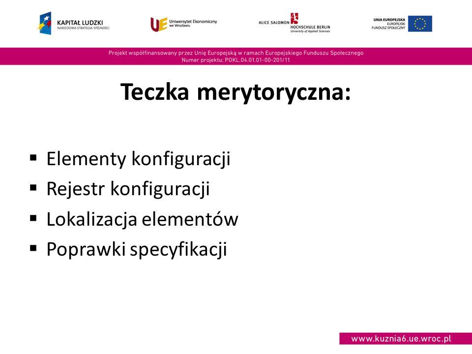 Teczka merytoryczna:  Elementy konfiguracji  Rejestr konfiguracji  Lokalizacja elementów  Poprawki specyfikacji