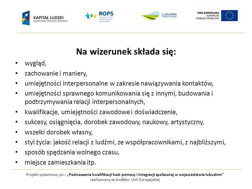 """Projekt systemowy pn.: """"Podnoszenie kwalifikacji kadr pomocy i integracji społecznej w województwie lubuskim realizowany ze środków Unii Europejskiej Czym jest kreacja wizerunku?"""