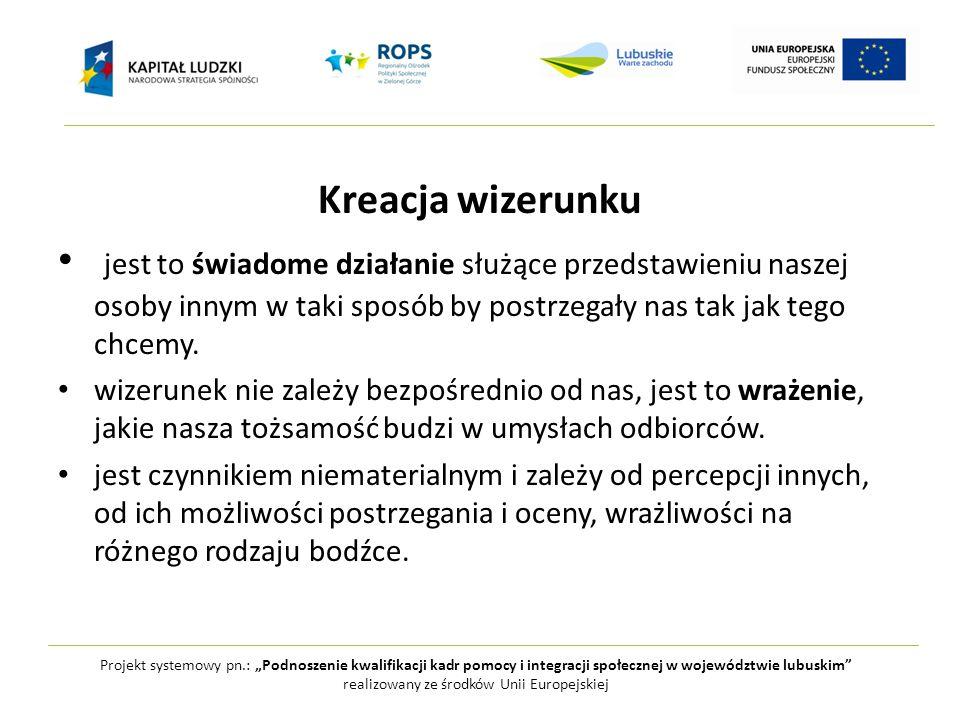 """Projekt systemowy pn.: """"Podnoszenie kwalifikacji kadr pomocy i integracji społecznej w województwie lubuskim realizowany ze środków Unii Europejskiej WIZERUNEK żywiołowyprzemyślany"""