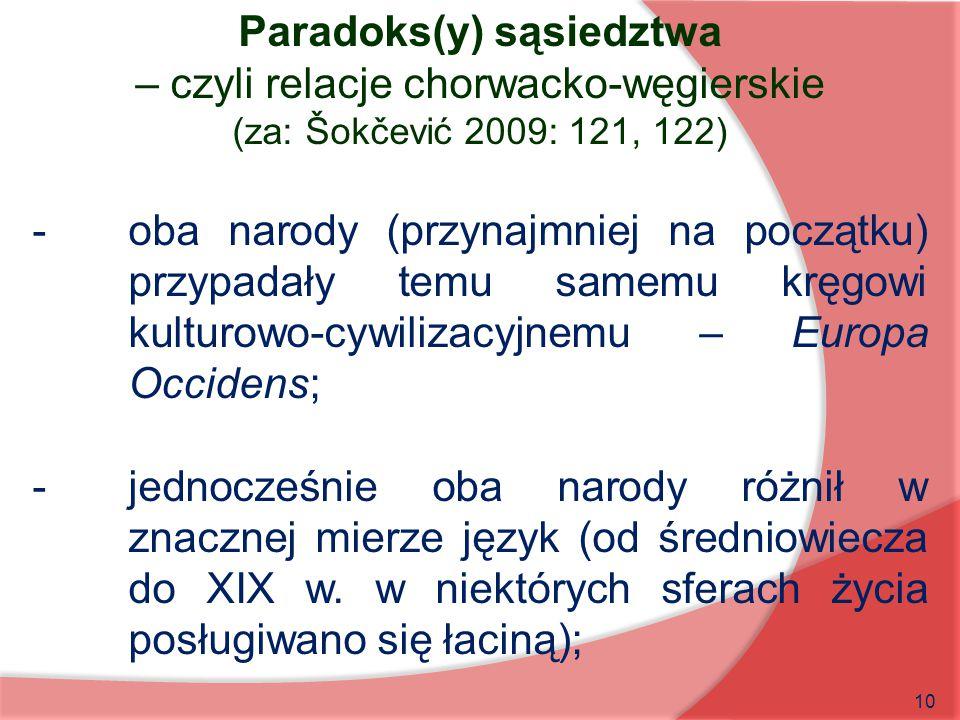 10 Paradoks(y) sąsiedztwa – czyli relacje chorwacko-węgierskie (za: Šokčević 2009: 121, 122) -oba narody (przynajmniej na początku) przypadały temu sa