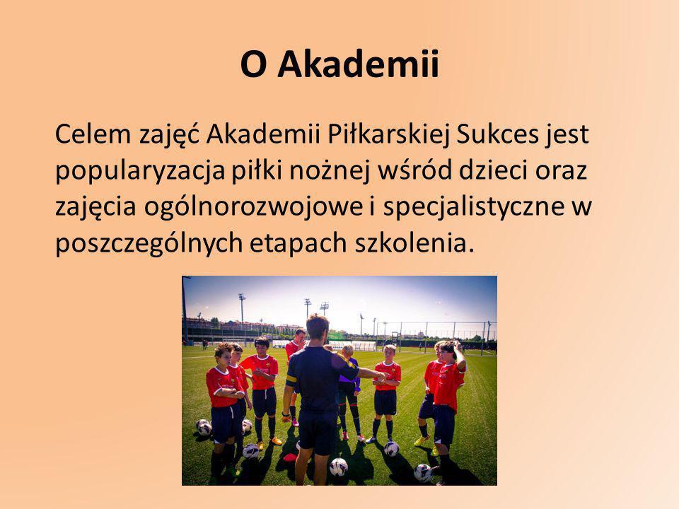 O Akademii Celem zajęć Akademii Piłkarskiej Sukces jest popularyzacja piłki nożnej wśród dzieci oraz zajęcia ogólnorozwojowe i specjalistyczne w poszc