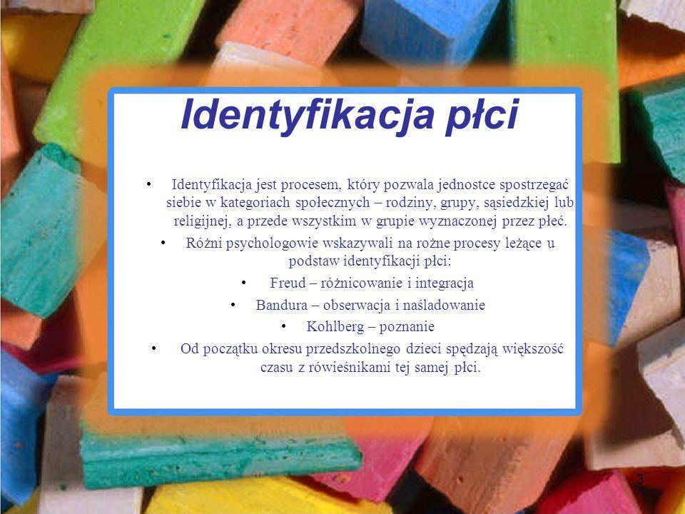 Identyfikacja płci Identyfikacja jest procesem, który pozwala jednostce spostrzegać siebie w kategoriach społecznych – rodziny, grupy, sąsiedzkiej lub