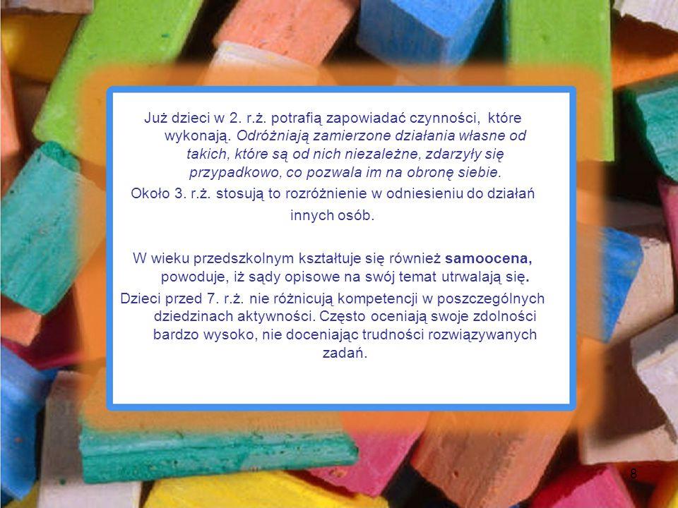 Już dzieci w 2. r.ż. potrafią zapowiadać czynności, które wykonają. Odróżniają zamierzone działania własne od takich, które są od nich niezależne, zda