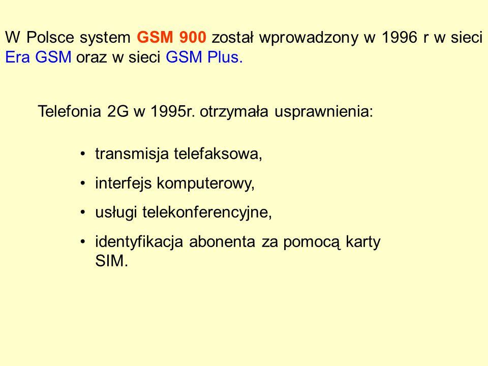 W Polsce system GSM 900 został wprowadzony w 1996 r w sieci Era GSM oraz w sieci GSM Plus. transmisja telefaksowa, interfejs komputerowy, usługi telek