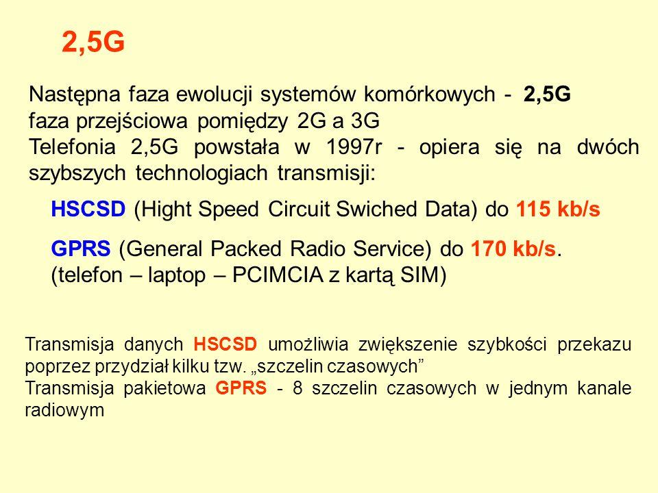Następna faza ewolucji systemów komórkowych - 2,5G faza przejściowa pomiędzy 2G a 3G Telefonia 2,5G powstała w 1997r - opiera się na dwóch szybszych t