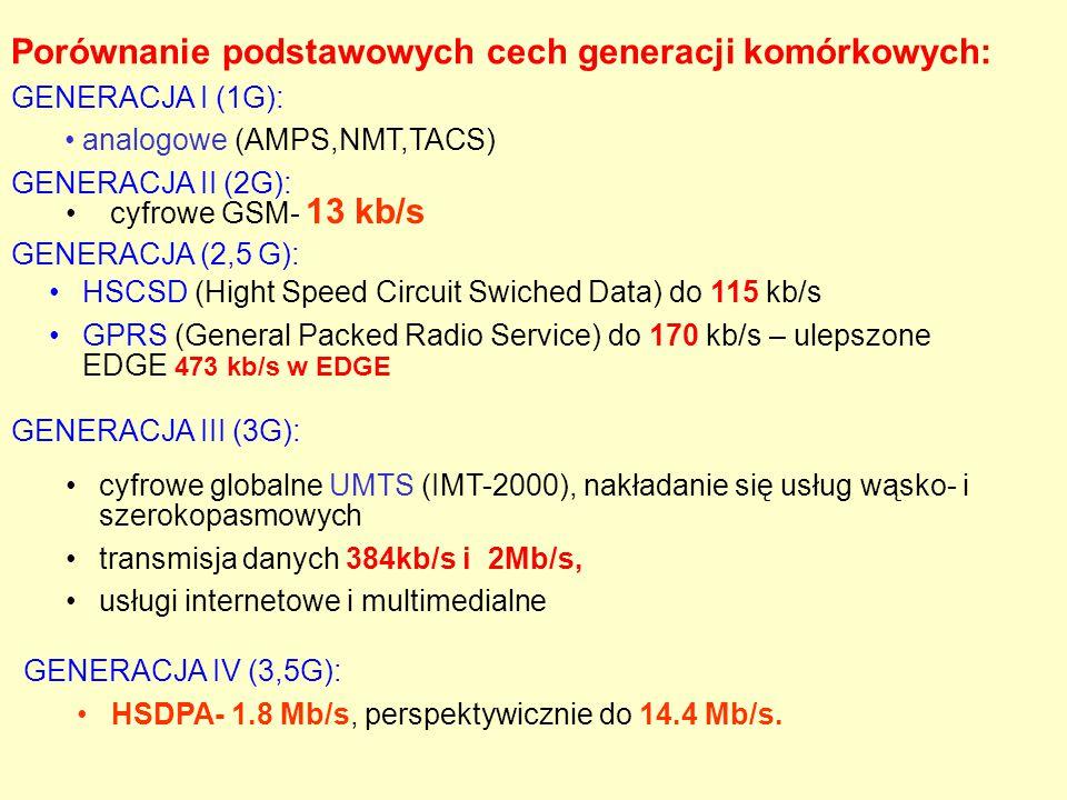 Porównanie podstawowych cech generacji komórkowych: GENERACJA I (1G): analogowe (AMPS,NMT,TACS) GENERACJA II (2G): cyfrowe GSM- 13 kb/s cyfrowe global
