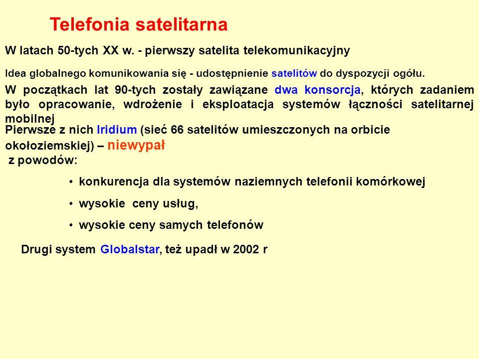 W latach 50-tych XX w. - pierwszy satelita telekomunikacyjny Idea globalnego komunikowania się - udostępnienie satelitów do dyspozycji ogółu. W począt
