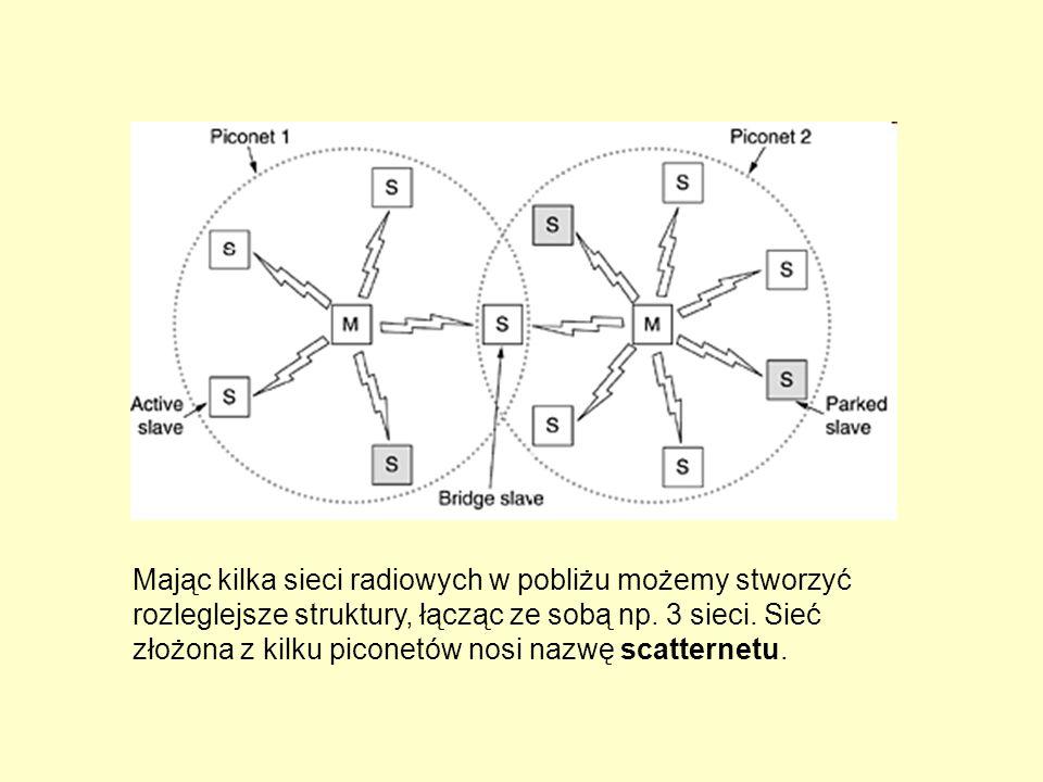 Mając kilka sieci radiowych w pobliżu możemy stworzyć rozleglejsze struktury, łącząc ze sobą np. 3 sieci. Sieć złożona z kilku piconetów nosi nazwę sc