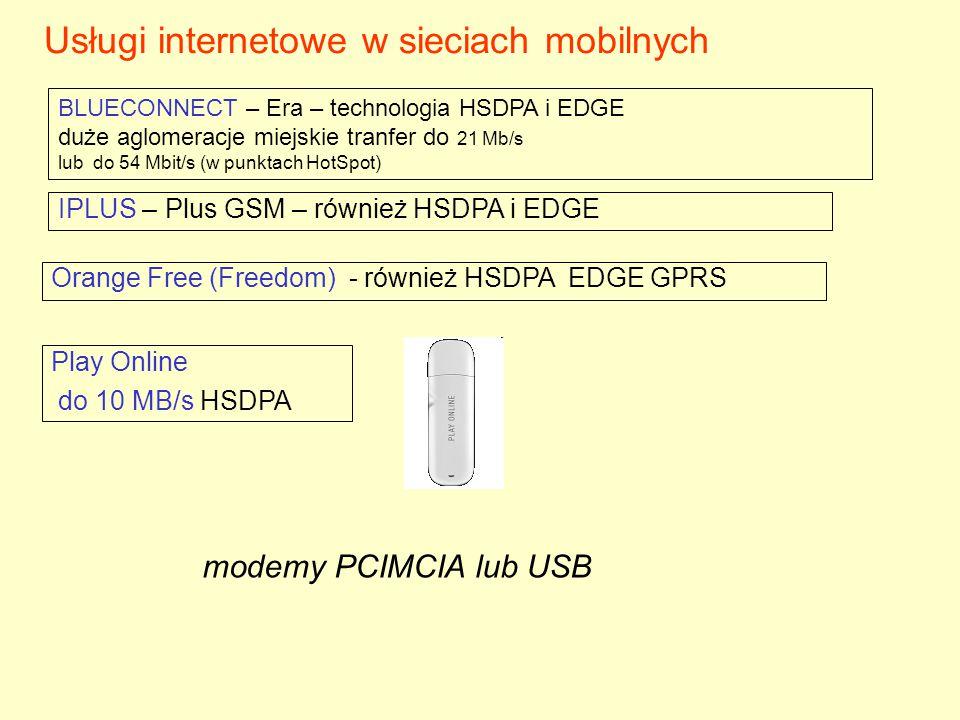 Usługi internetowe w sieciach mobilnych BLUECONNECT – Era – technologia HSDPA i EDGE duże aglomeracje miejskie tranfer do 21 Mb/s lub do 54 Mbit/s (w