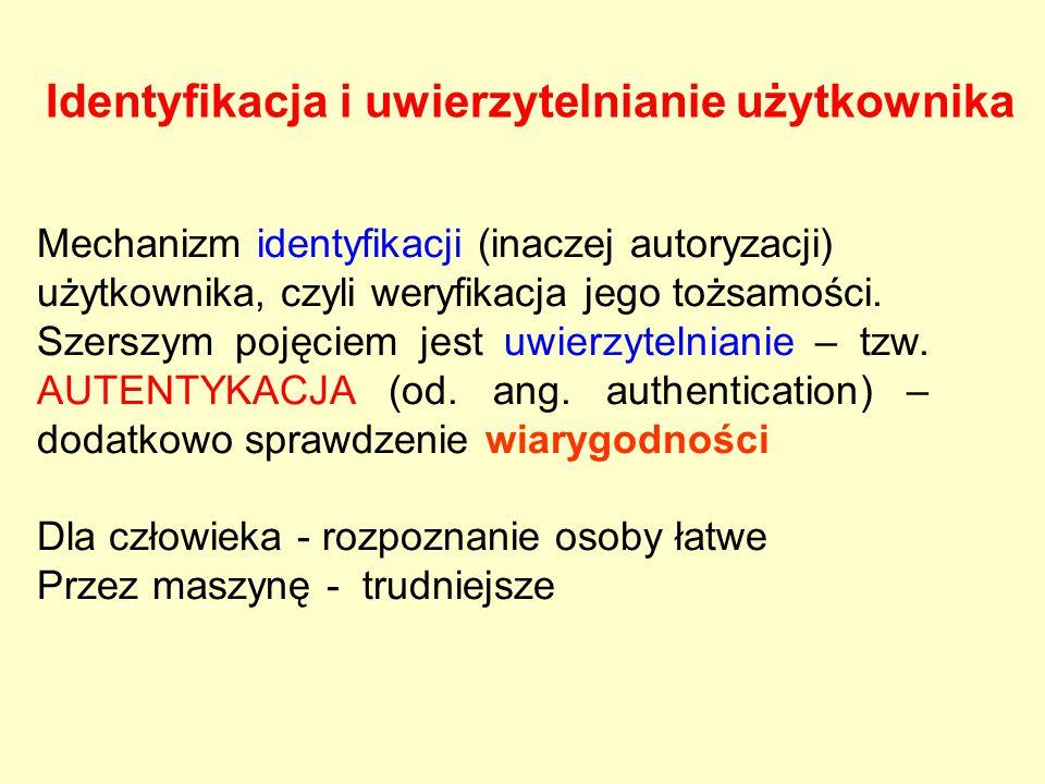 Mechanizm identyfikacji (inaczej autoryzacji) użytkownika, czyli weryfikacja jego tożsamości. Szerszym pojęciem jest uwierzytelnianie – tzw. AUTENTYKA