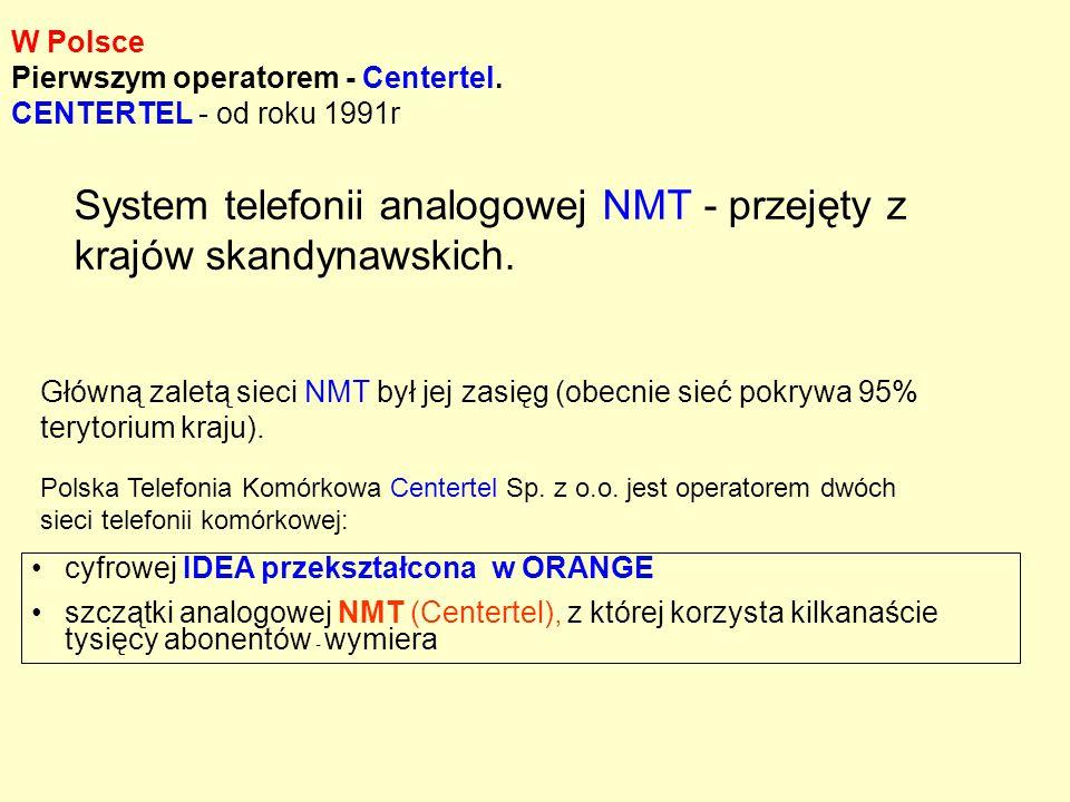 W Polsce Pierwszym operatorem - Centertel. CENTERTEL - od roku 1991r Główną zaletą sieci NMT był jej zasięg (obecnie sieć pokrywa 95% terytorium kraju