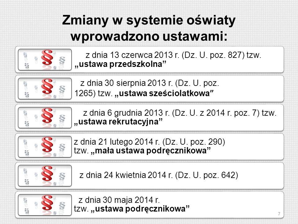"""z dnia 13 czerwca 2013 r. (Dz. U. poz. 827) tzw. """"ustawa przedszkolna"""" z dnia 30 sierpnia 2013 r. (Dz. U. poz. 1265) tzw. """"ustawa sześciolatkowa """" z d"""