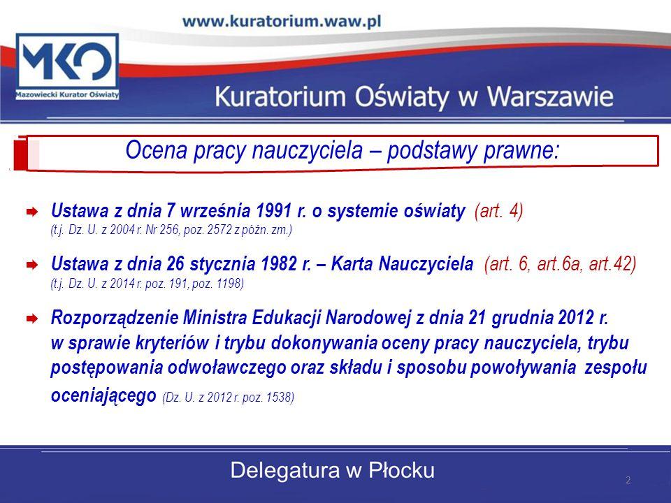 Ocena pracy nauczyciela – podstawy prawne:  Ustawa z dnia 7 września 1991 r. o systemie oświaty (art. 4) (t.j. Dz. U. z 2004 r. Nr 256, poz. 2572 z p