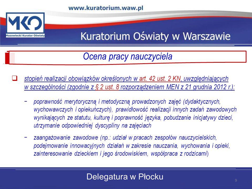 Ocena pracy nauczyciela  stopień realizacji obowiązków określonych w art. 42 ust. 2 KN, uwzględniających w szczególności (zgodnie z § 2 ust. 8 rozpor