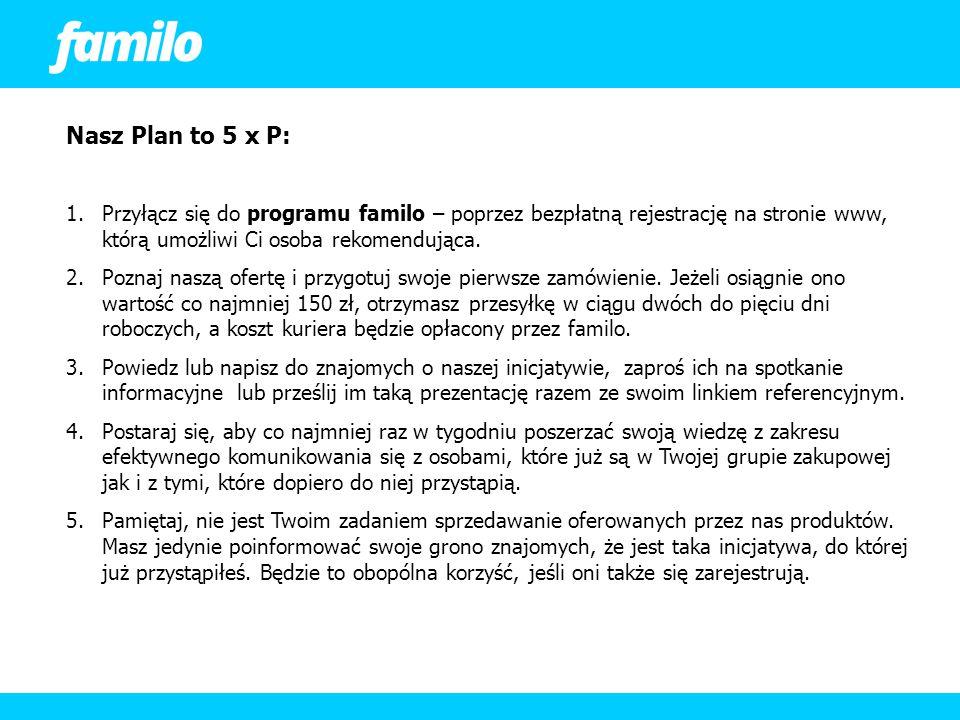 Nasz Plan to 5 x P: 1.Przyłącz się do programu familo – poprzez bezpłatną rejestrację na stronie www, którą umożliwi Ci osoba rekomendująca. 2.Poznaj