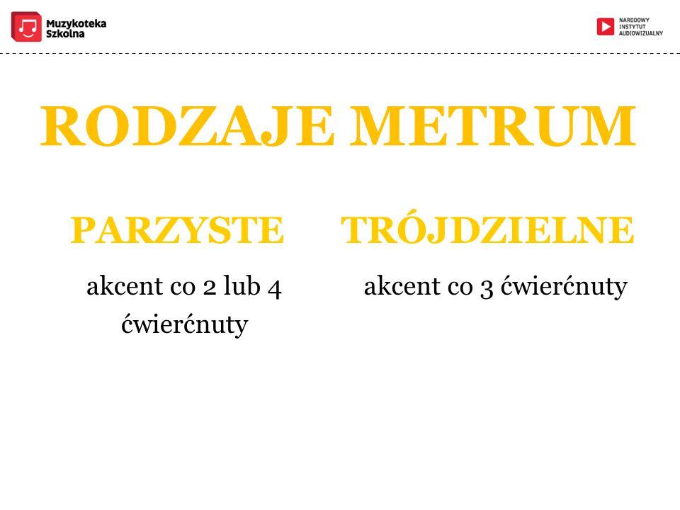 RODZAJE METRUM PARZYSTE akcent co 2 lub 4 ćwierćnuty TRÓJDZIELNE akcent co 3 ćwierćnuty