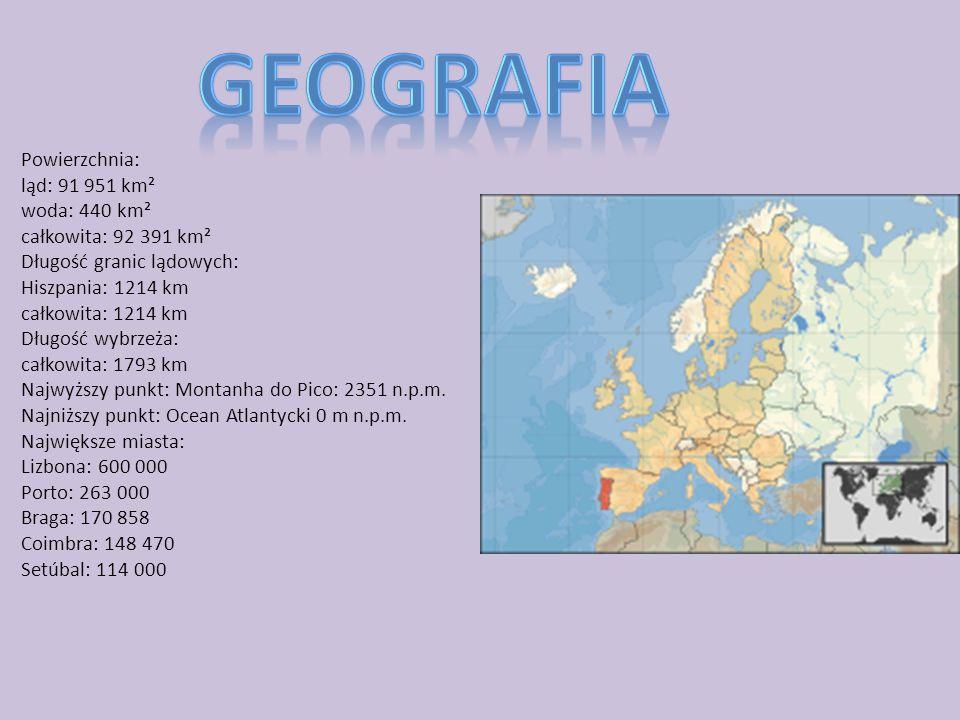 Powierzchnia: ląd: 91 951 km² woda: 440 km² całkowita: 92 391 km² Długość granic lądowych: Hiszpania: 1214 km całkowita: 1214 km Długość wybrzeża: całkowita: 1793 km Najwyższy punkt: Montanha do Pico: 2351 n.p.m.