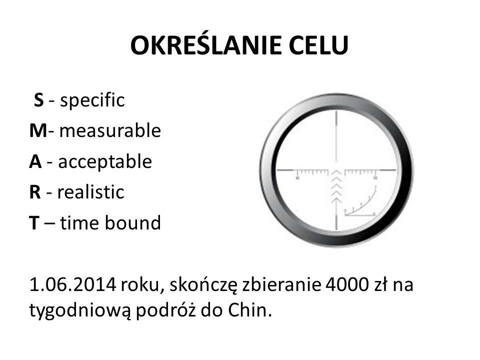 OKREŚLANIE CELU S - specific M- measurable A - acceptable R - realistic T – time bound 1.06.2014 roku, skończę zbieranie 4000 zł na tygodniową podróż do Chin.