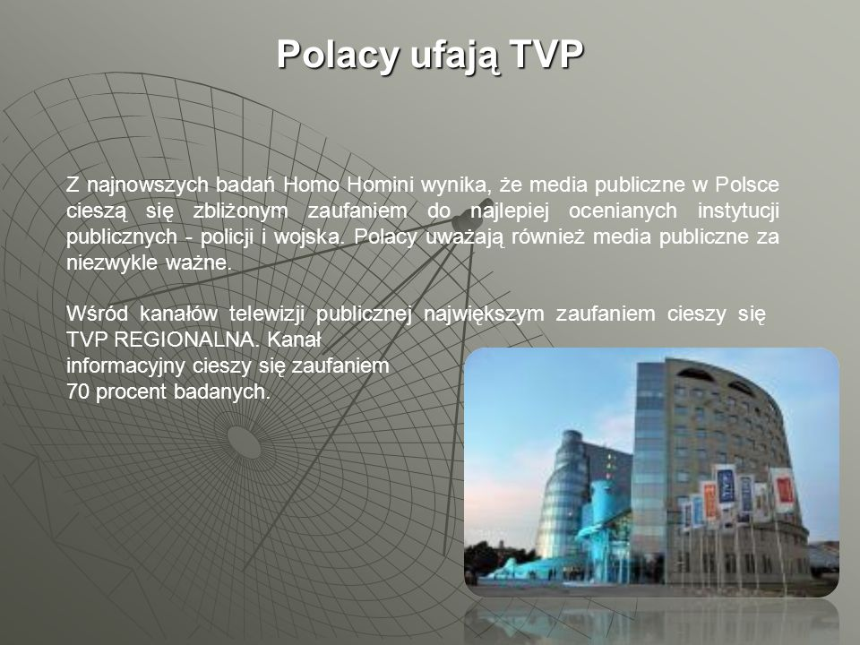 Polacy ufają TVP Z najnowszych badań Homo Homini wynika, że media publiczne w Polsce cieszą się zbliżonym zaufaniem do najlepiej ocenianych instytucji