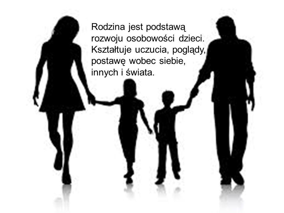 Rodzina kszta ł tuje podstawowe poj ę cia takiej jak: dobro, z ł o, mi ł o ść, przyja źń, szacunek oraz tworzy wzory zachowa ń.