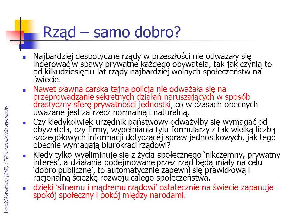 Witold Kwaśnicki (INE, UWr), Notatki do wykładów Rząd – samo dobro? Najbardziej despotyczne rządy w przeszłości nie odważały się ingerować w spawy pry
