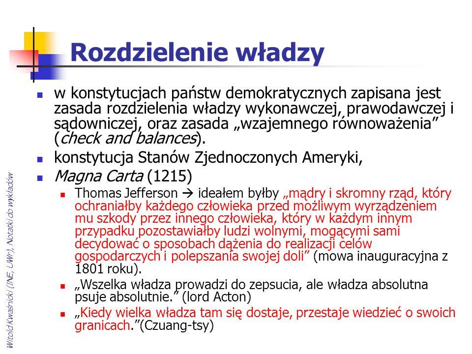 Witold Kwaśnicki (INE, UWr), Notatki do wykładów Rozdzielenie władzy w konstytucjach państw demokratycznych zapisana jest zasada rozdzielenia władzy w