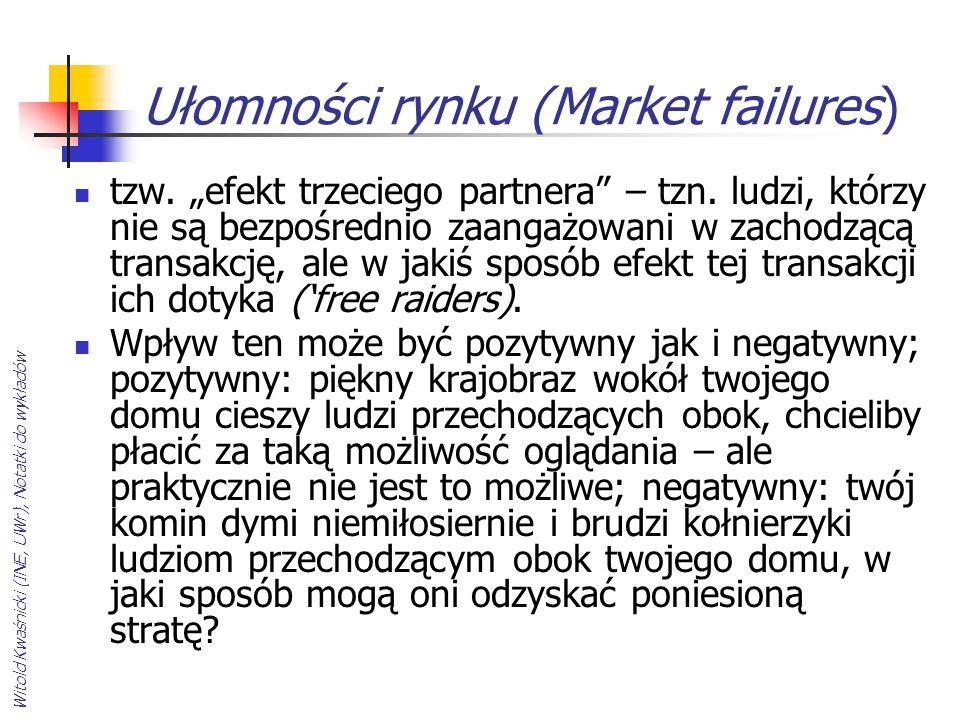 """Witold Kwaśnicki (INE, UWr), Notatki do wykładów Ułomności rynku (Market failures) tzw. """"efekt trzeciego partnera"""" – tzn. ludzi, którzy nie są bezpośr"""