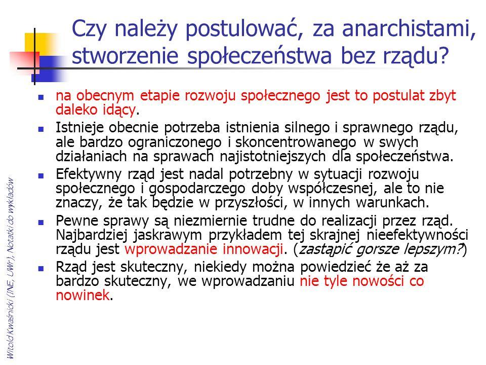 Witold Kwaśnicki (INE, UWr), Notatki do wykładów Czy należy postulować, za anarchistami, stworzenie społeczeństwa bez rządu? na obecnym etapie rozwoju