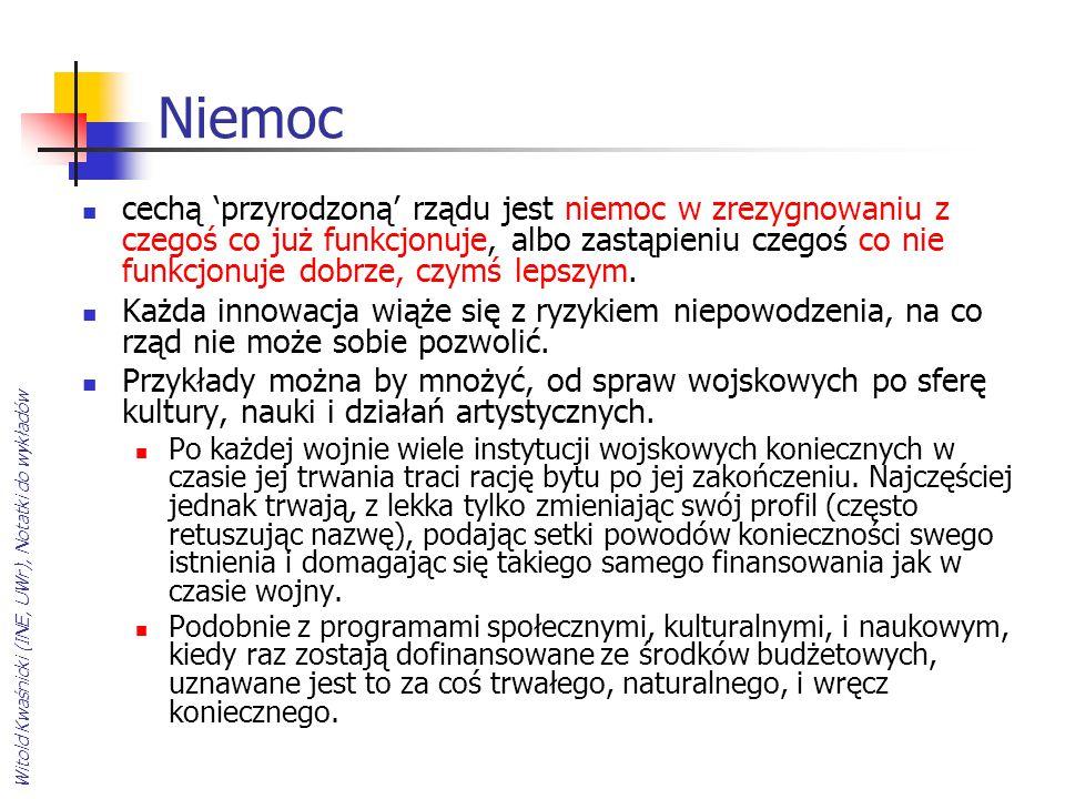 Witold Kwaśnicki (INE, UWr), Notatki do wykładów Niemoc cechą 'przyrodzoną' rządu jest niemoc w zrezygnowaniu z czegoś co już funkcjonuje, albo zastąp