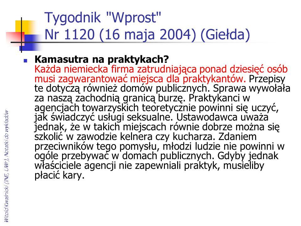 Witold Kwaśnicki (INE, UWr), Notatki do wykładów Tygodnik