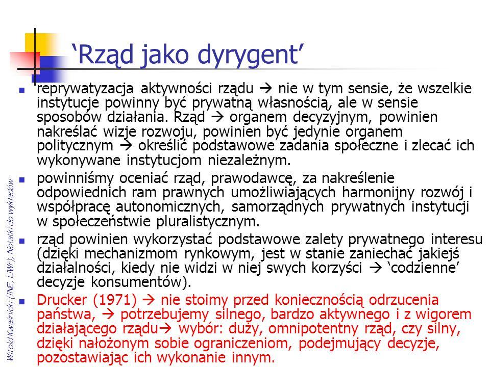 Witold Kwaśnicki (INE, UWr), Notatki do wykładów 'Rząd jako dyrygent' reprywatyzacja aktywności rządu  nie w tym sensie, że wszelkie instytucje powin