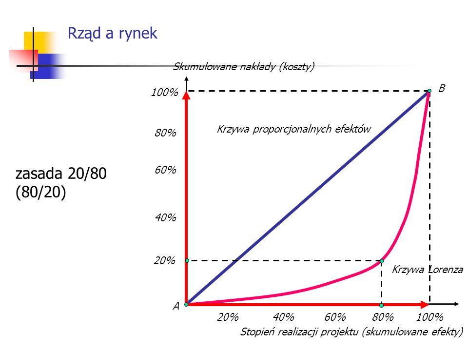 Rząd a rynek 100% 20% 40% 60% 80% 20%40%60%80% A B zasada 20/80 (80/20) Krzywa Lorenza Krzywa proporcjonalnych efektów Stopień realizacji projektu (sk