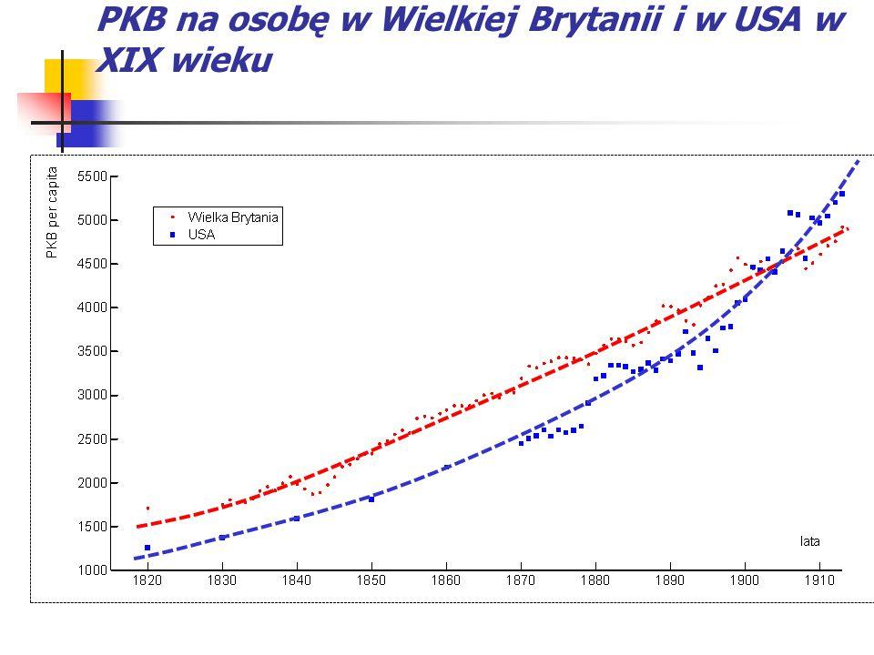 PKB na osobę w Wielkiej Brytanii i w USA w XIX wieku