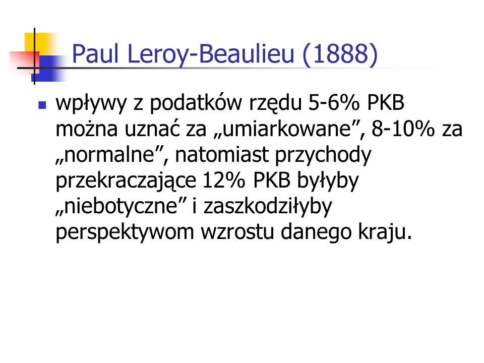 """Paul Leroy-Beaulieu (1888) wpływy z podatków rzędu 5-6% PKB można uznać za """"umiarkowane"""", 8-10% za """"normalne"""", natomiast przychody przekraczające 12%"""