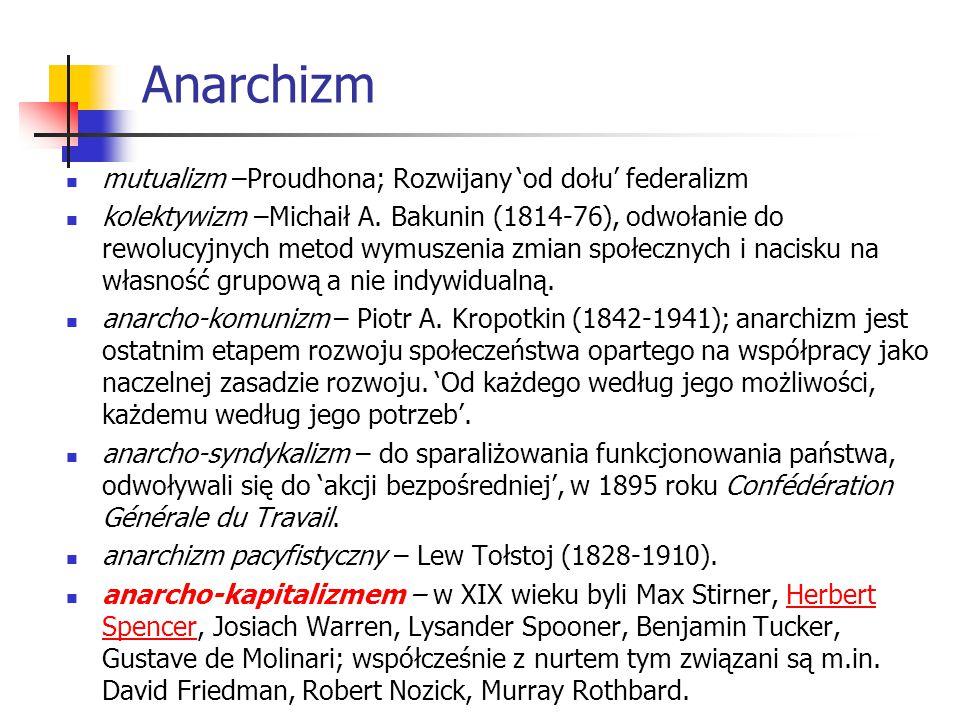 Anarchizm mutualizm –Proudhona; Rozwijany 'od dołu' federalizm kolektywizm –Michaił A. Bakunin (1814-76), odwołanie do rewolucyjnych metod wymuszenia