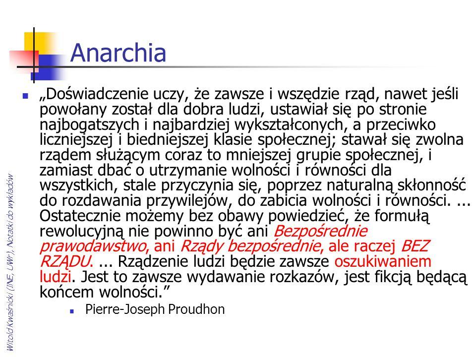 """Witold Kwaśnicki (INE, UWr), Notatki do wykładów Anarchia """"Doświadczenie uczy, że zawsze i wszędzie rząd, nawet jeśli powołany został dla dobra ludzi,"""