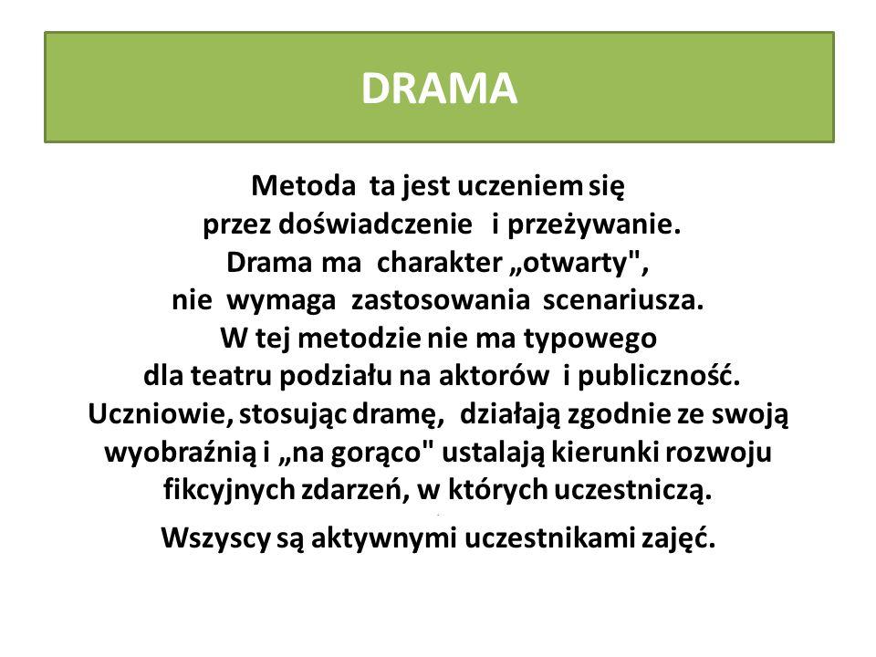 """DRAMA Metoda ta jest uczeniem się przez doświadczenie i przeżywanie. Drama ma charakter """"otwarty"""