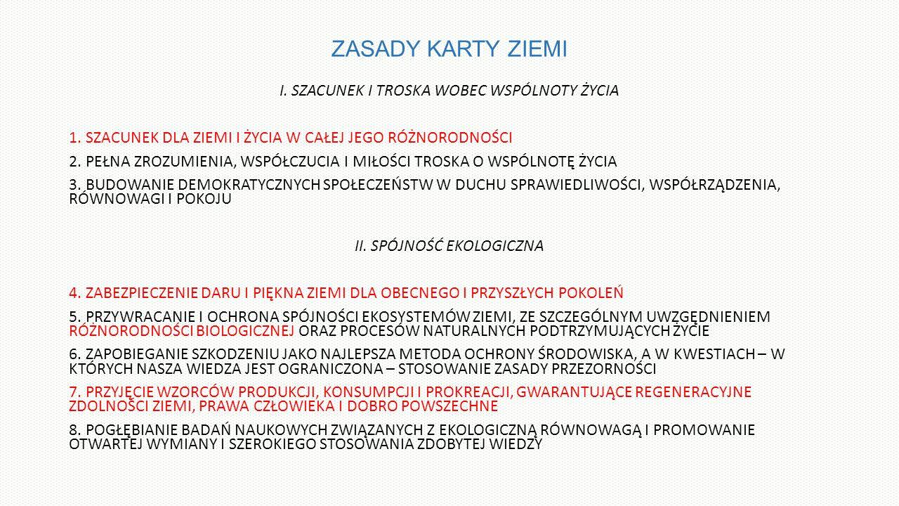 ZASADY KARTY ZIEMI I.SZACUNEK I TROSKA WOBEC WSPÓLNOTY ŻYCIA 1.