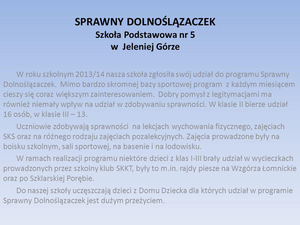 SPRAWNY DOLNOŚLĄZACZEK Szkoła Podstawowa nr 5 w Jeleniej Górze W roku szkolnym 2013/14 nasza szkoła zgłosiła swój udział do programu Sprawny Dolnoślązaczek.