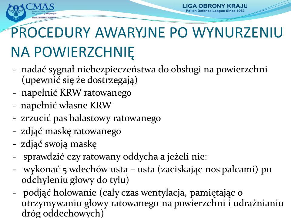 PROCEDURY AWARYJNE PO WYNURZENIU NA POWIERZCHNIĘ -nadać sygnał niebezpieczeństwa do obsługi na powierzchni (upewnić się że dostrzegają) -napełnić KRW
