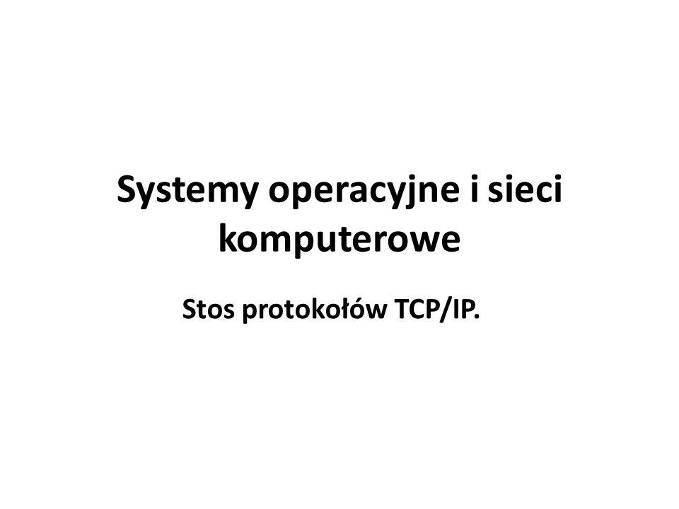 Systemy operacyjne i sieci komputerowe Stos protokołów TCP/IP.