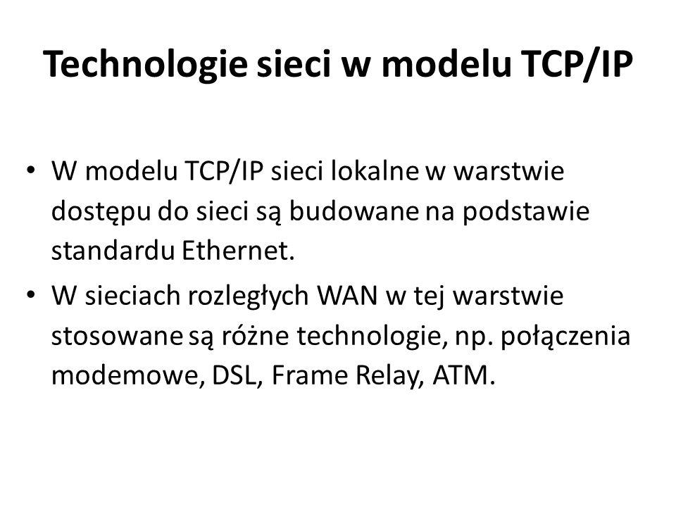 Technologie sieci w modelu TCP/IP W modelu TCP/IP sieci lokalne w warstwie dostępu do sieci są budowane na podstawie standardu Ethernet. W sieciach ro