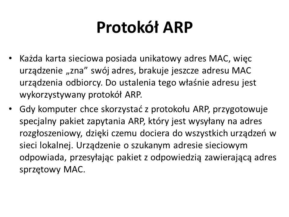 """Protokół ARP Każda karta sieciowa posiada unikatowy adres MAC, więc urządzenie """"zna"""" swój adres, brakuje jeszcze adresu MAC urządzenia odbiorcy. Do us"""