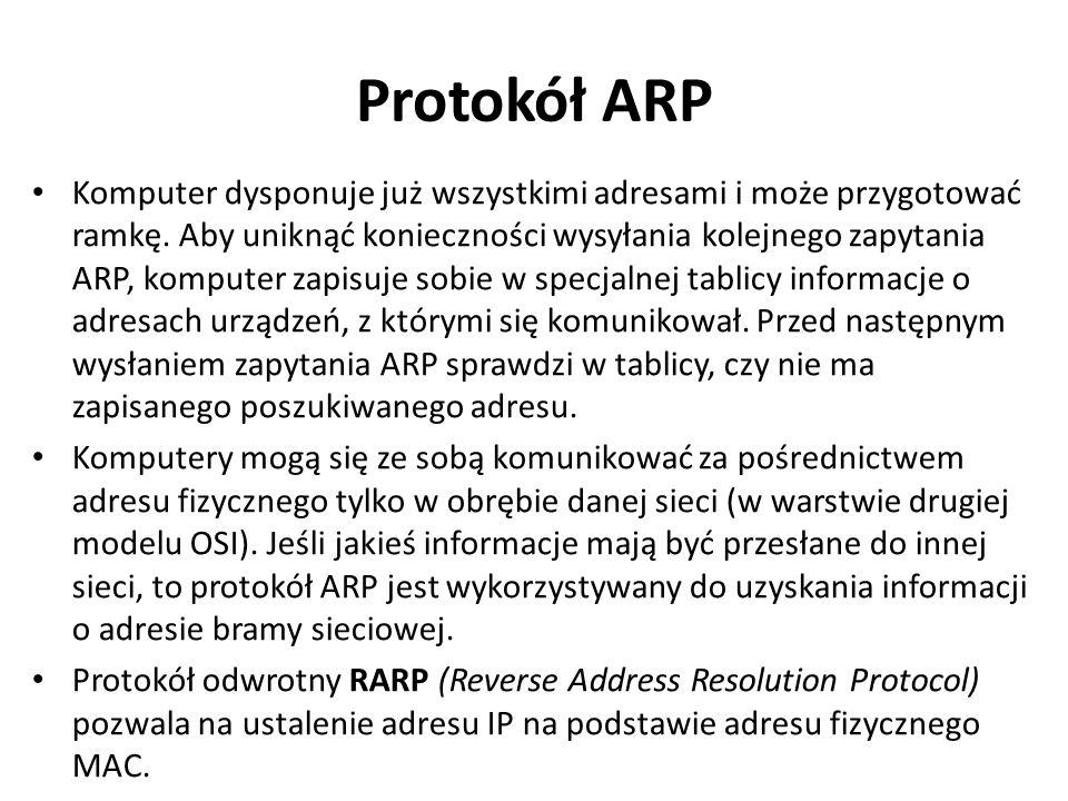 Protokół ARP Komputer dysponuje już wszystkimi adresami i może przygotować ramkę. Aby uniknąć konieczności wysyłania kolejnego zapytania ARP, komputer