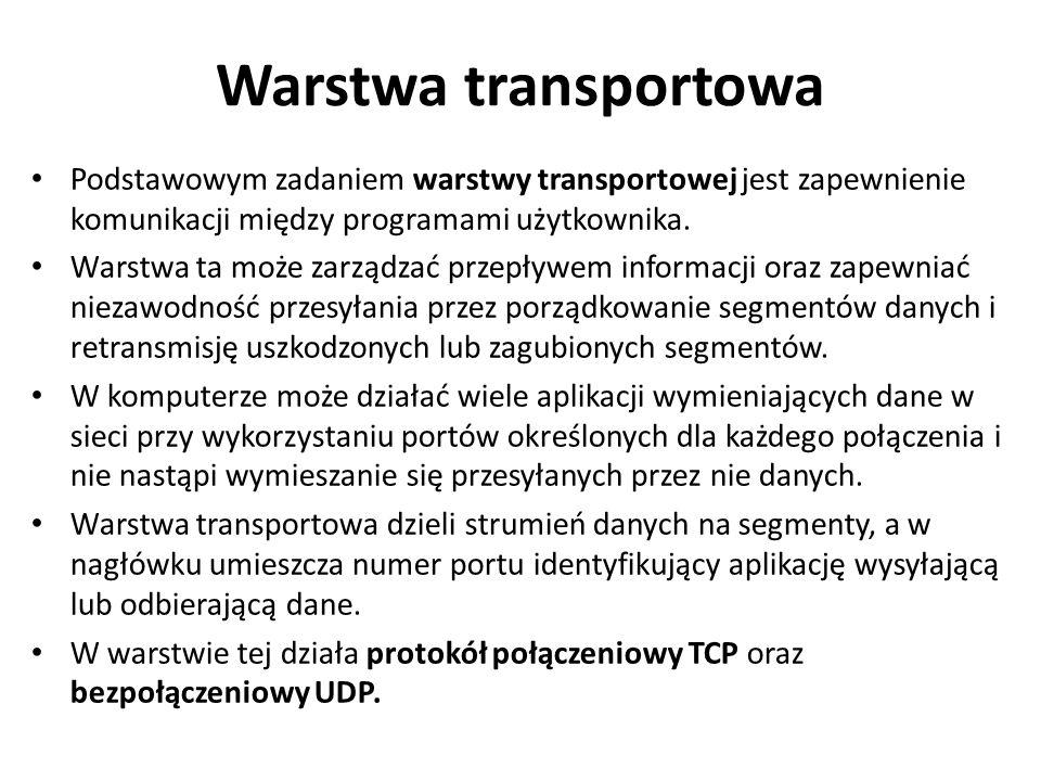 Warstwa transportowa Podstawowym zadaniem warstwy transportowej jest zapewnienie komunikacji między programami użytkownika. Warstwa ta może zarządzać