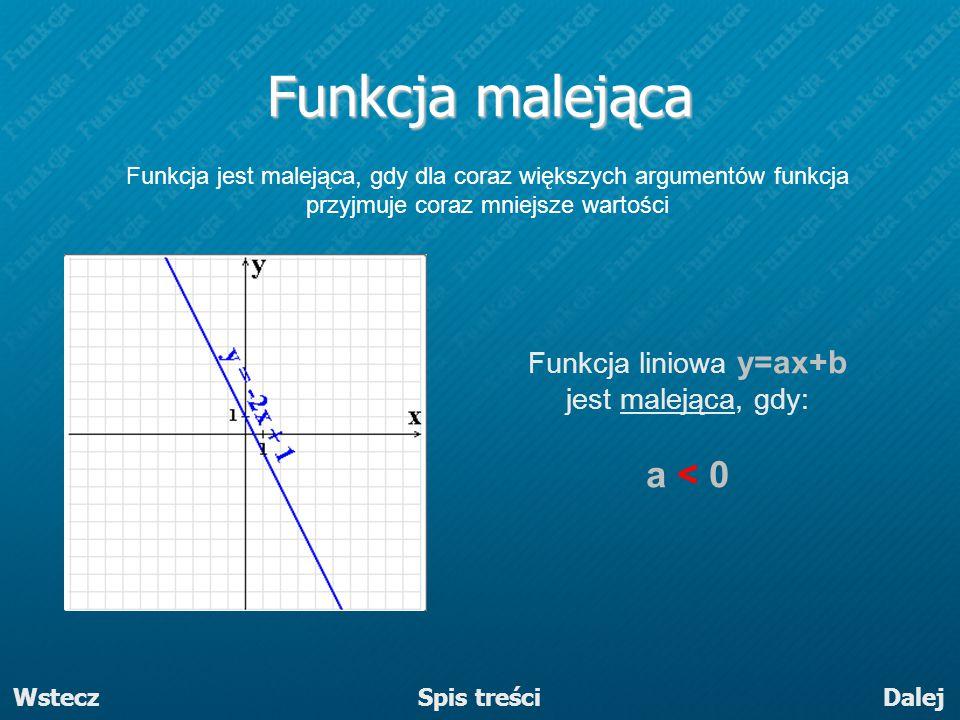 DalejWstecz Funkcja jest malejąca, gdy dla coraz większych argumentów funkcja przyjmuje coraz mniejsze wartości Funkcja liniowa y=ax+b jest malejąca,