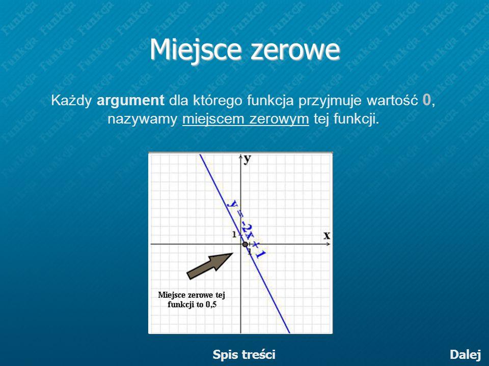 Miejsce zerowe Każdy argument dla którego funkcja przyjmuje wartość 0, nazywamy miejscem zerowym tej funkcji. Dalej Spis treści