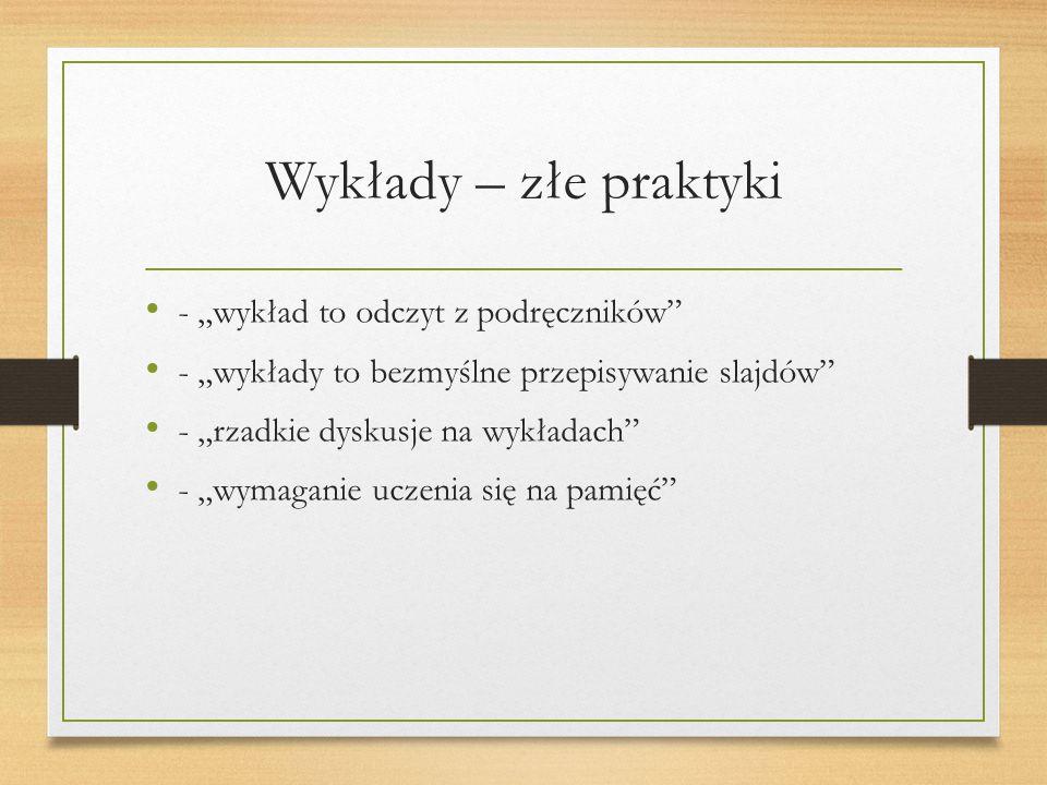 """Wykłady – złe praktyki - """"wykład to odczyt z podręczników - """"wykłady to bezmyślne przepisywanie slajdów - """"rzadkie dyskusje na wykładach - """"wymaganie uczenia się na pamięć"""
