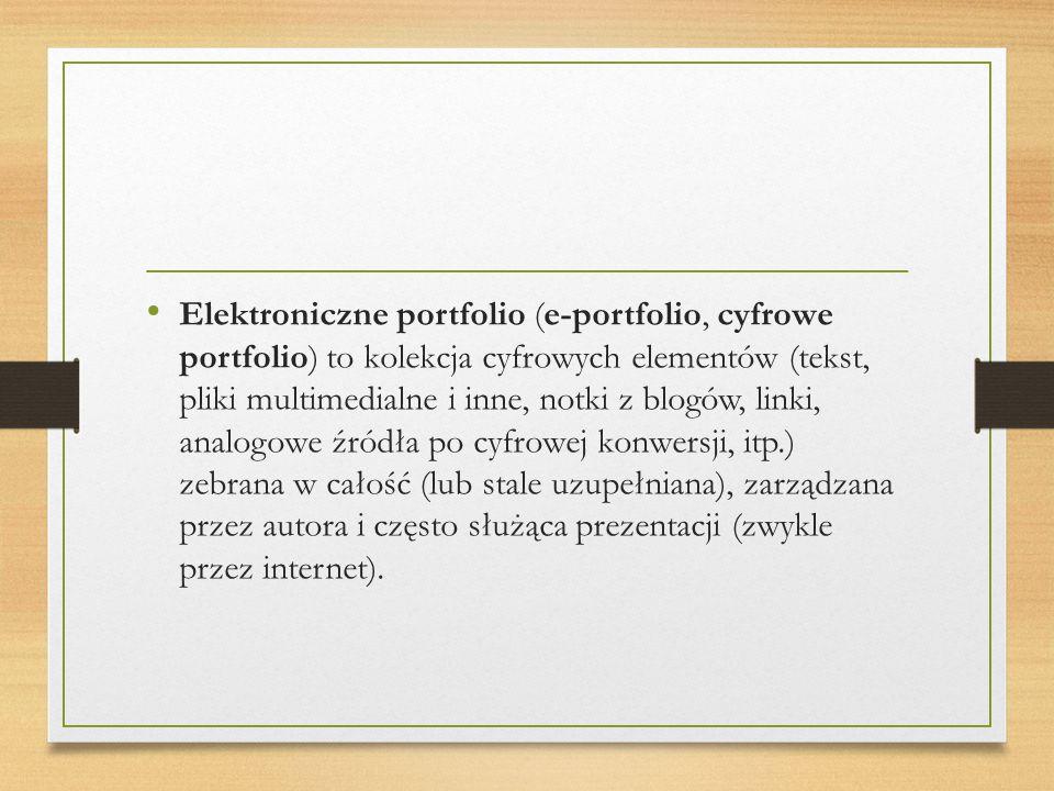 Elektroniczne portfolio (e-portfolio, cyfrowe portfolio) to kolekcja cyfrowych elementów (tekst, pliki multimedialne i inne, notki z blogów, linki, analogowe źródła po cyfrowej konwersji, itp.) zebrana w całość (lub stale uzupełniana), zarządzana przez autora i często służąca prezentacji (zwykle przez internet).